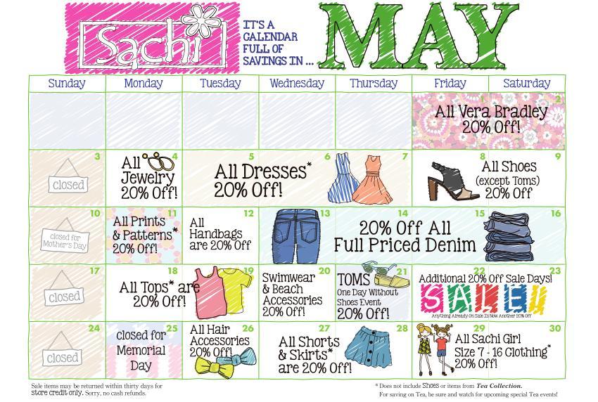 Sachi Calendar Sale