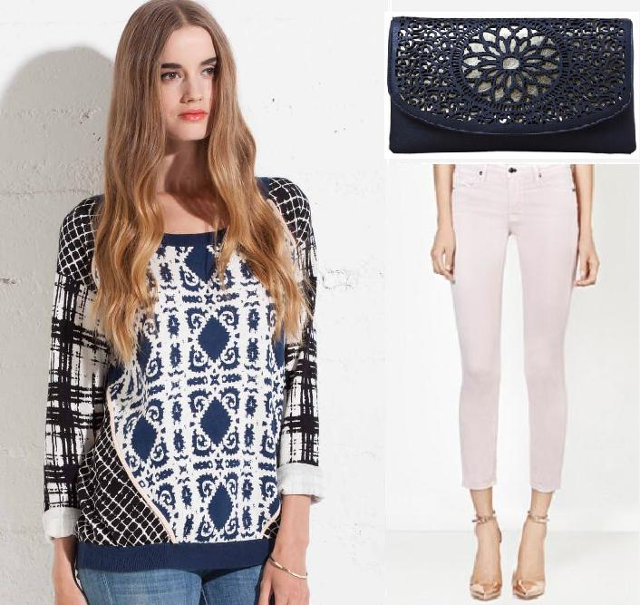 Ella Moss mixed print Top; Genetic Denim Brook petal pink Pant; Melie Bianco Renee Clutch