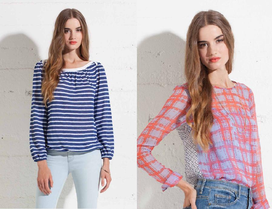 Ella Moss stripe top; Ella Moss silk two pattern top