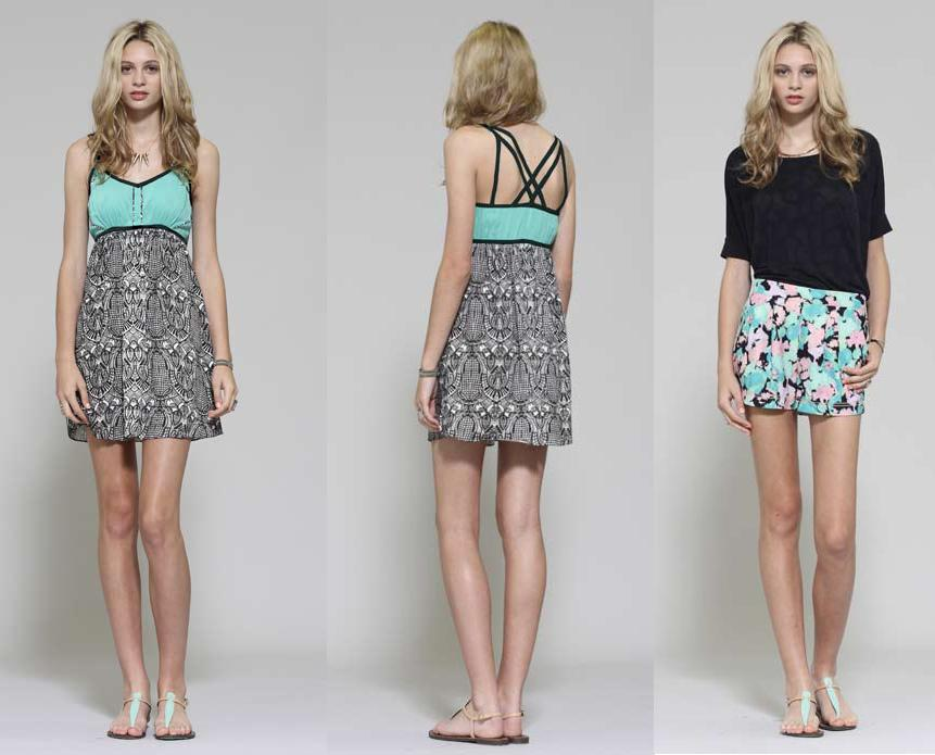 Cardinal dress black print/mint; Etoile short mint print, also in black and white print