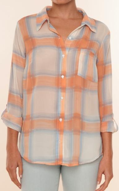 Splendid Beach Glass Plaid top in Sunset/Blue Fog