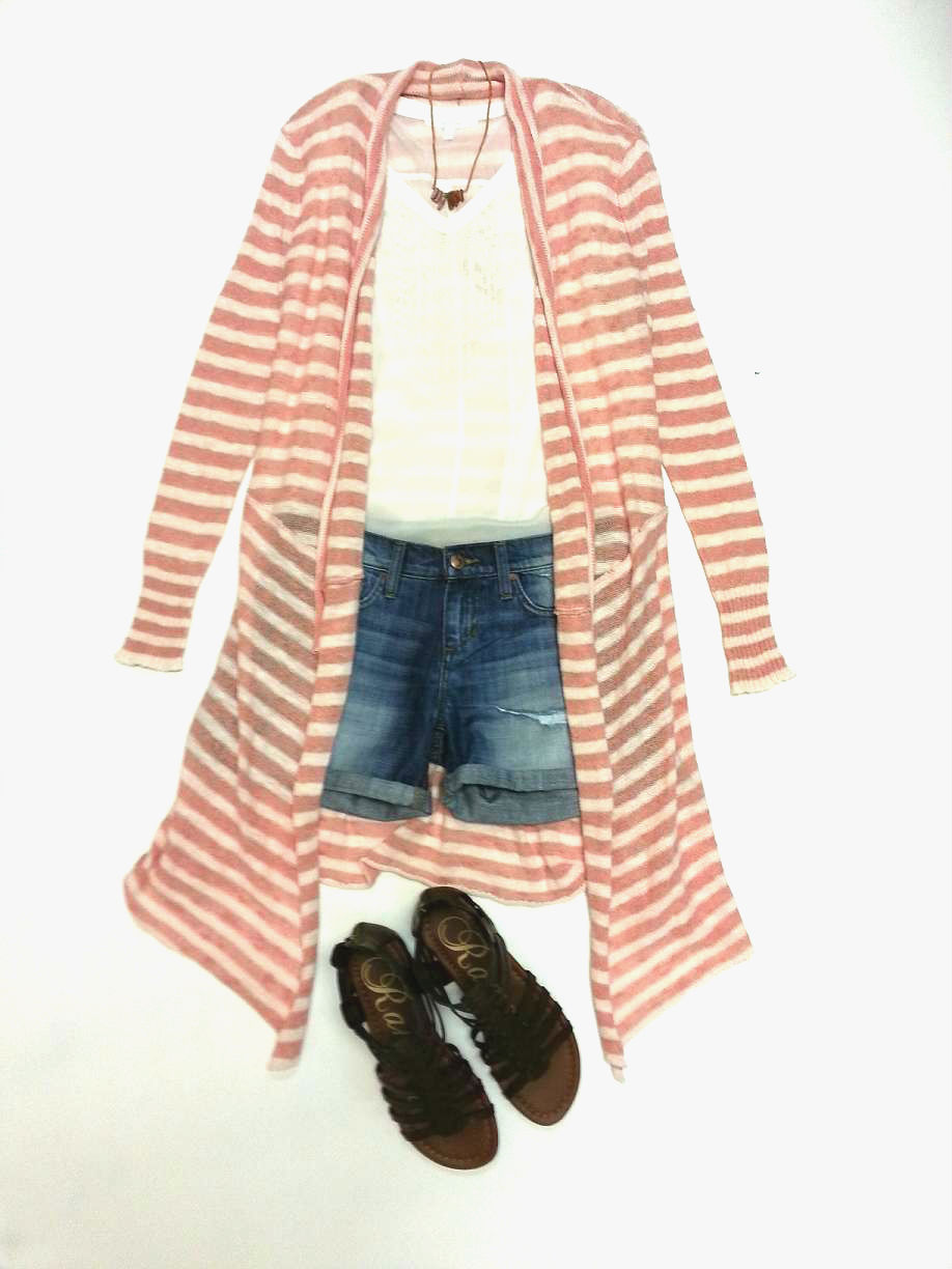 Aryn K top; Free People sweater; Joe's Jeans shorts; Rampage gladiator; Larissa Loden necklace