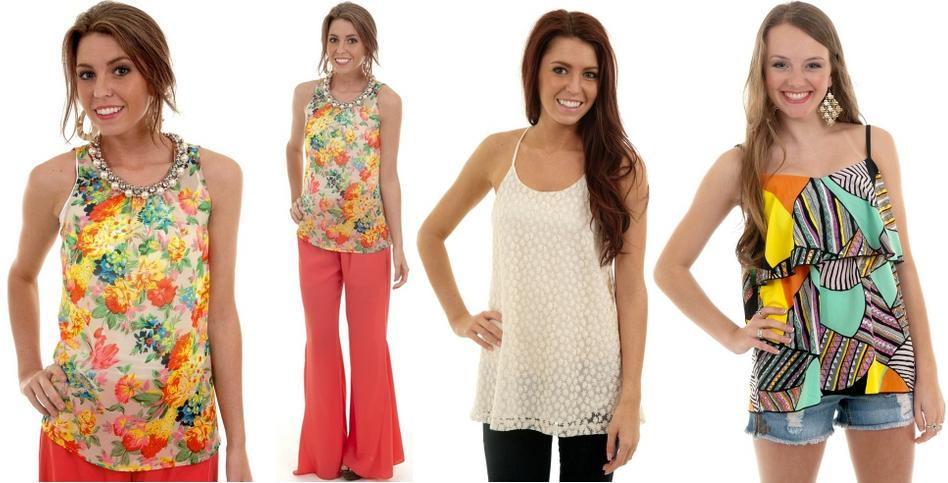 Floral top with jewel neck; Ivory embroidered flower cami; Multi Print flutter tank