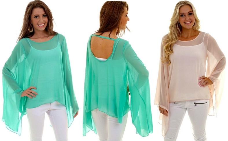 Bell sleeve sheer top available in Mint and Blush