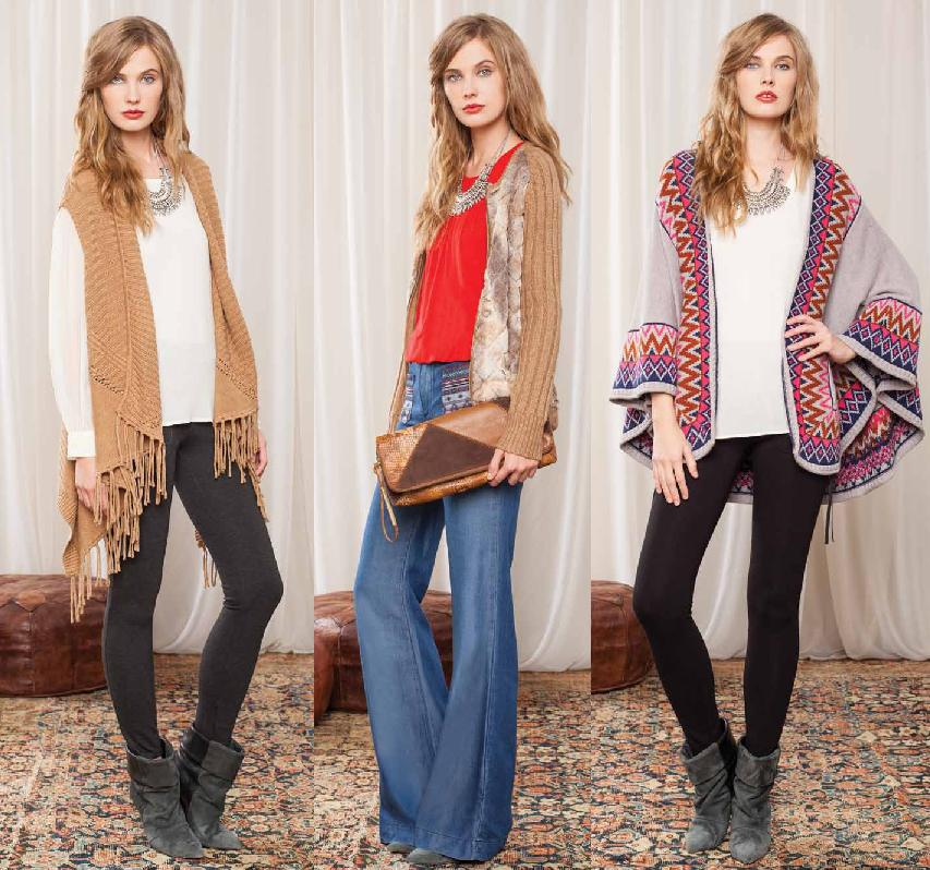 Sweater available in Oatmeal; Top available in Red; Poncho available as shown