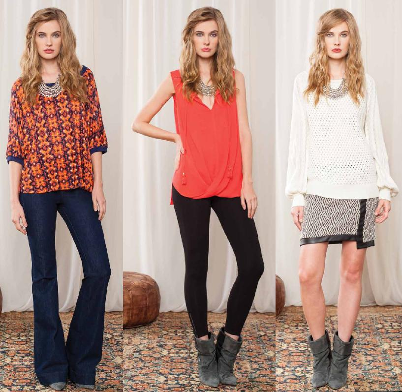 Orange/Navy print top available as shown; Red tank; Sweater available in Oatmeal and skirt as shown