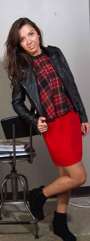 BCBGeneration Red Plaid Halter Top and Red Skirt; Black Swan Black Vegan Leather Moto Jacket; Toms High Desert Wedge in black