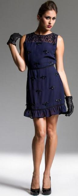 Navy Flower Sequin Flounce Hem Dress