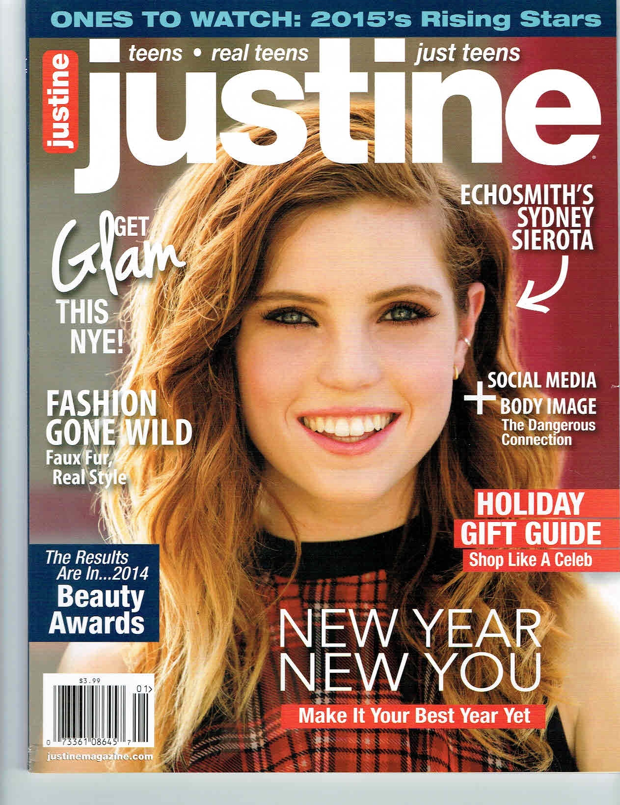 Justine Magazine Dec/Jan 2015 issue featuring Echosmith's Sydney Sierota wearing BCBGeneration top from Sachi