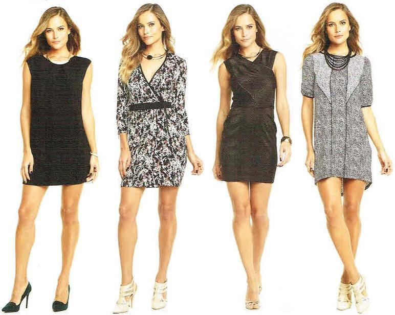 Jayden Dress in black, Trea Dress in print, Rosella Dress in Jacquard snake ponte, Reed Dress in black and white print