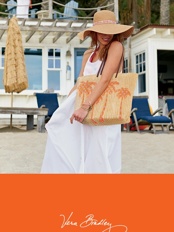 Vera Bradley Straw hat and assorted Beach bags available at Sachi.