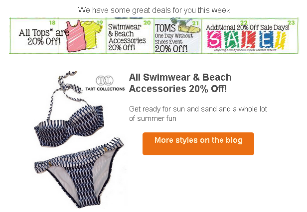 On Wednesday shop Swimwear and Beach Accessories and receive 20% off!