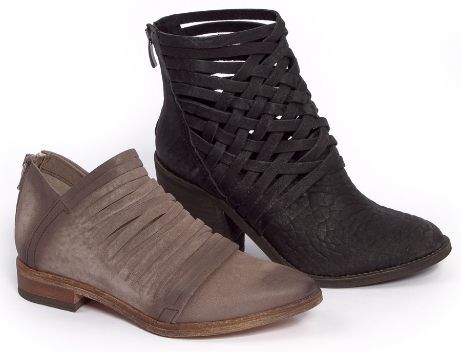 Taupe Lost Valley; Black Carrera boot available at Sachi.