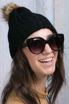 TOMS Luisa Black Clear Tortoise frame; Two's Co. pom pom hat
