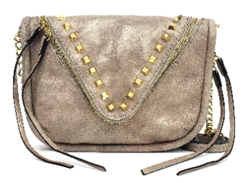 She and Lo Breakthrough Zip Crossbody in Cream Metallic