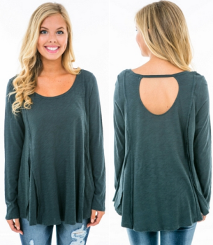 Karlie Green Scoop Back Tunic