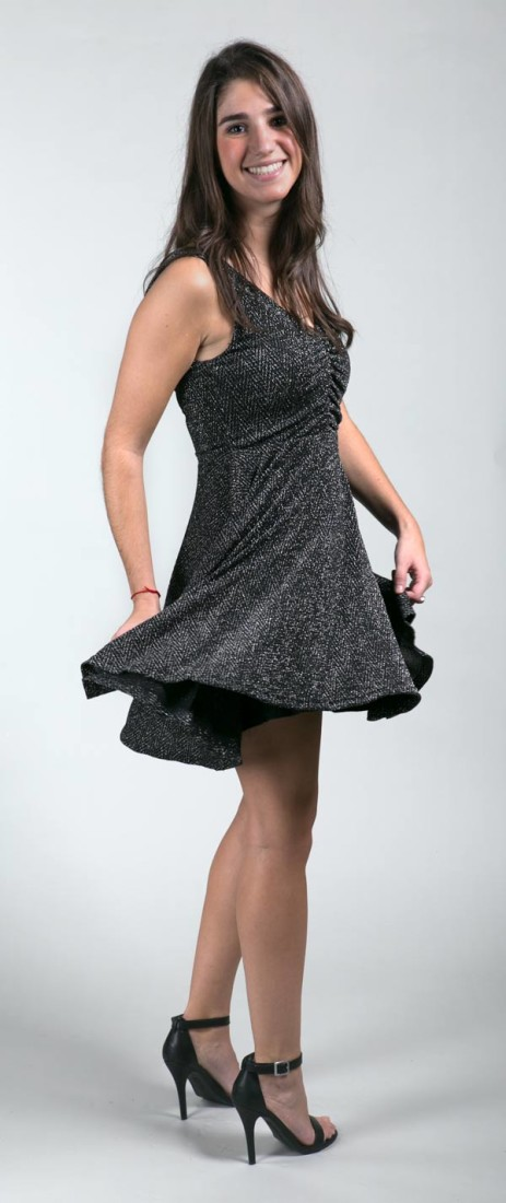 Mink Pink Black and Silver Lurex Dress