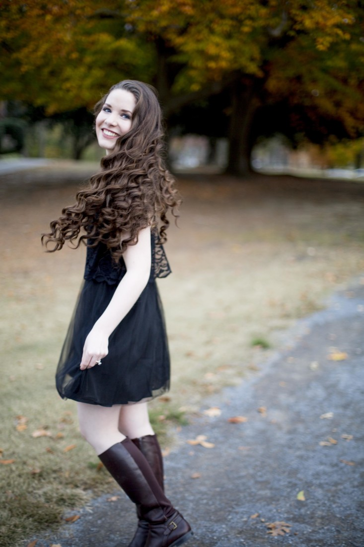 Mikayla is wearing a Black Lace and Tulle BCBGeneration dress from Sachi.