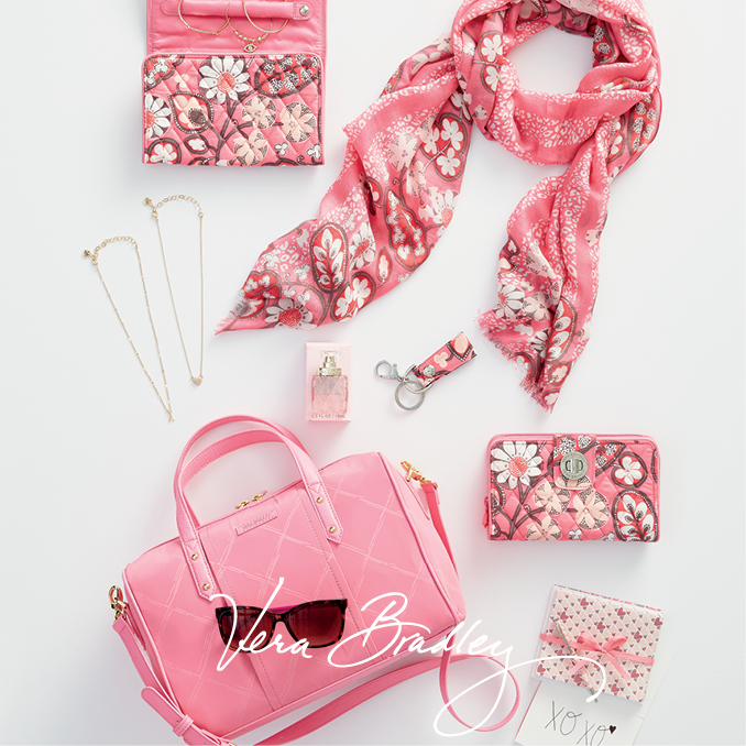 New Vera Bradley styles (initial necklaces) and patterns for spring available now. Patterns shown in Blush Pink Signature Quilted and Blossom Pink Preppy Poly Collection.