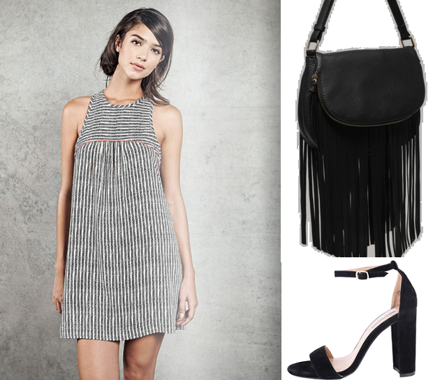 Dress, Melie Bianco fringe bag and Steve Madden Carrson heel all available at Sachi.