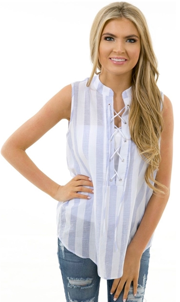 Karlie lace up stripe top