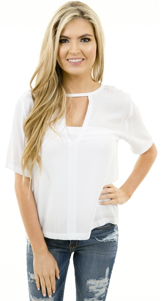 Karlie Cutout v blouse in White